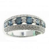 Blue & White Diamond Ring
