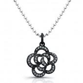 Black Sterling Silver Diamond Flower Pendant