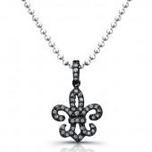 Black Sterling Silver Diamond Fleur De Lys Pendant