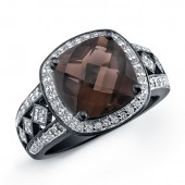 Black Sterling Silver Smokey Quartz Diamond Ring