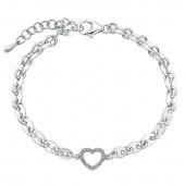 Sterling Silver Diamond Heart Chain Bracelet