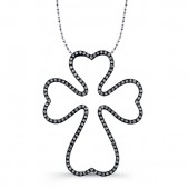 Black Sterling Silver Diamond Oversize Cross Pendant
