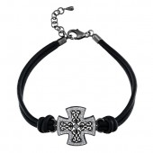 Black Sterling Silver Diamond Cross Leather Bracelet