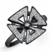 Black Sterling Silver Diamond Chopper Cross Ring