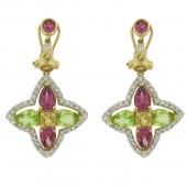Multi Colored & Diamond Earrings