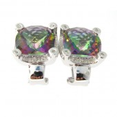 Rainbow Topaz & Diamond Earrings