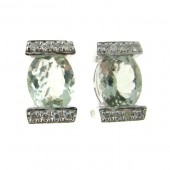 Green Amethyst & Diamond Earrings
