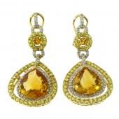 Yellow Sapphires & Diamond earrings