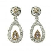 Pink Diamond and White Diamond Earrings