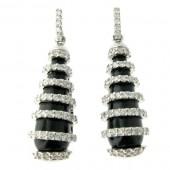 Black Onyx & Diamond Drop Earrings