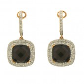 Smoky Topaz & Diamond Earings