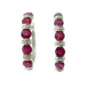 Ruby & Diamond Hoop Earrings