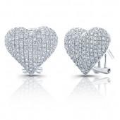 14k White Gold Pave Heart Earrings