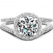 14k White Gold Diamond Halo Engagement Semi Mount Ring