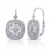 14k White Gold Cut-Out Diamond Earrings