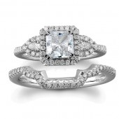 18k White Gold Three Stone Diamond Bridal Set
