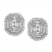 14k White Gold Emerald Cut Diamond Earrings