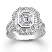 14k White Gold Vintage Detail Mosaic Diamond Ring