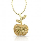 14k Yellow Gold Diamond and Yellow Sapphire Apple Pendant