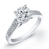 14k White Gold Pave and Prong Diamond Engagement Semi Mount