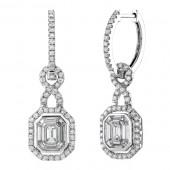 14k White Gold Wrap Around Mosaic Diamond Earrings