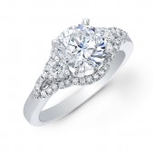 14k White Gold Shimmering Three Stone Diamond Semi Mount