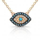 14k Rose Gold Mini Evil Eye Necklace