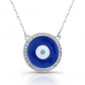 14k White Gold Diamond Enamel Evil Eye Necklace