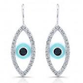 14k White Gold Enamel Diamond Evil Eye Earrings