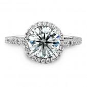 14k White Gold Halo Diamond Engagement Semi Mount Ring
