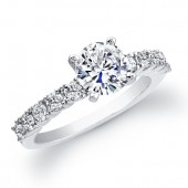 14k White Gold Prong Diamond Engagement Ring
