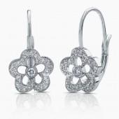 14k White Gold Diamond Flower Earring On Lever Back
