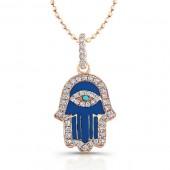 14k Rose Gold Diamond Blue Enamel Hamsa Pendant