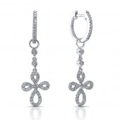 14k White Gold Diamond Cross Earrings