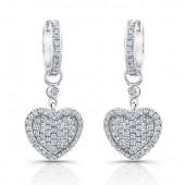 14k White Gold Diamond Heart Earrings