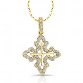 14k Yellow Gold Center Diamond Cross Pendant