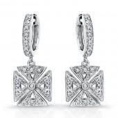 14k White Gold Diamond Chopper Earrings