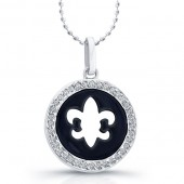 14k White Gold Diamond Cut-Out Fleur De Lys Disk Pendant