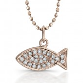 14k Rose Gold Diamond Fish (Ichthus) Pendant