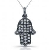 14k Black Gold Diamond Micro Pave Hamsa Pendant