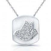 14k White Gold Pave Dove Pendant