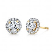 14k Yellow Gold White Diamond Halo Stud Earrings
