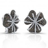 14k White Gold Pave Brown Diamond Flower Earrings
