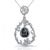 18k White Gold Rose Cut Black Diamond Chandelier Drop Pendant