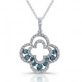 14k White Gold Blue Diamond Clover Fashion Pendant