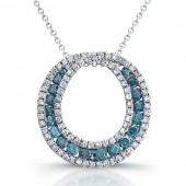 14k White Gold Blue Diamond Circle Fashion Pendant