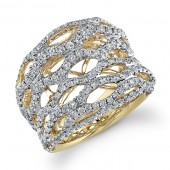 14k Yellow Gold Diamond Mesh Ladies Band