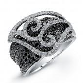 14k White Gold Black and White Diamond Pave Swirl Ring