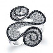 14k White Gold Black and White Diamond Pave Swirl Ring