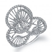 14k White Gold Diamond Wire Flower Ring